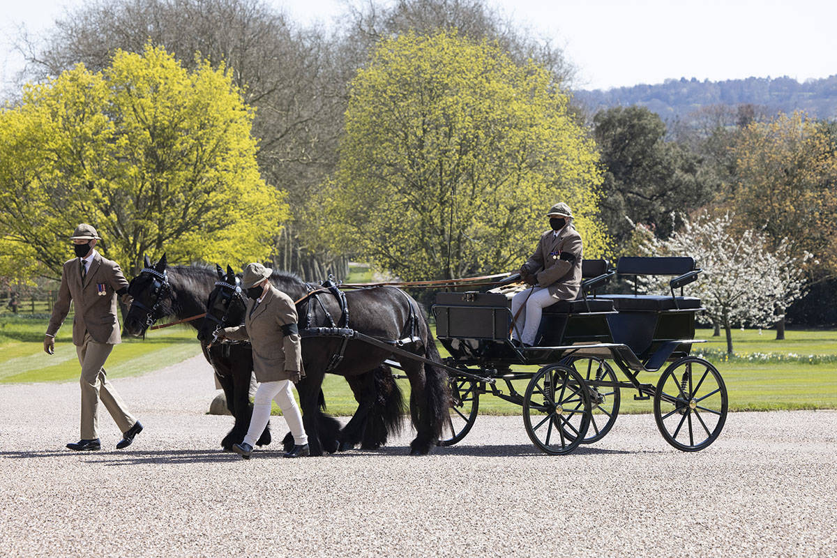 The pony and trap belonging to Prince Philip, with his whip and gloves in his place, is seen ou ...