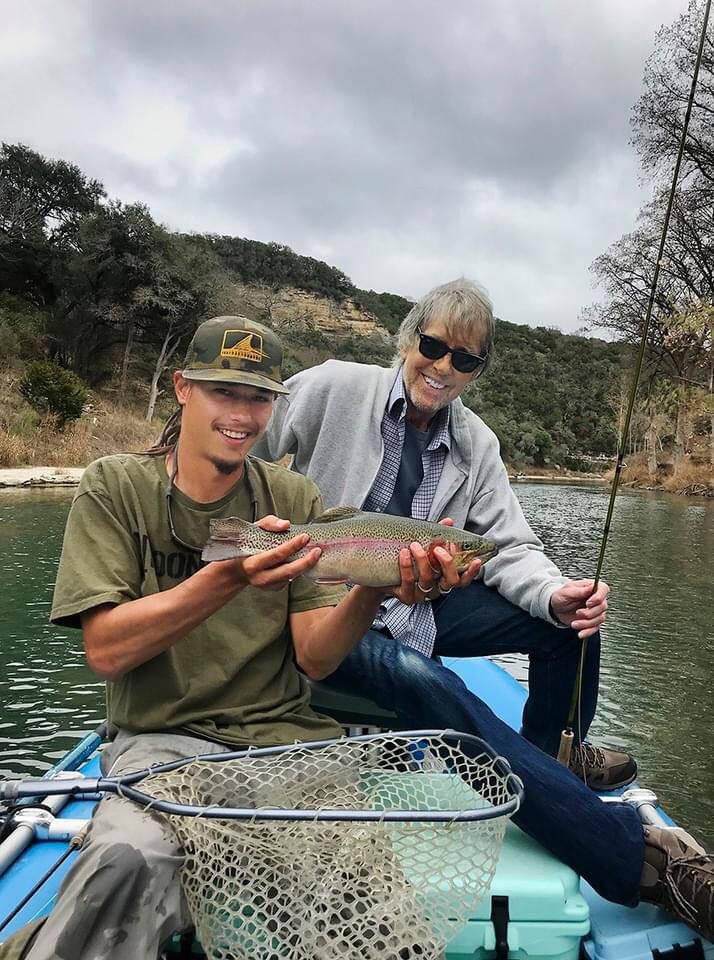 Bill Hughes, right, is pictured with his nephew Daniel Hughes during a fishing trip on the Guad ...