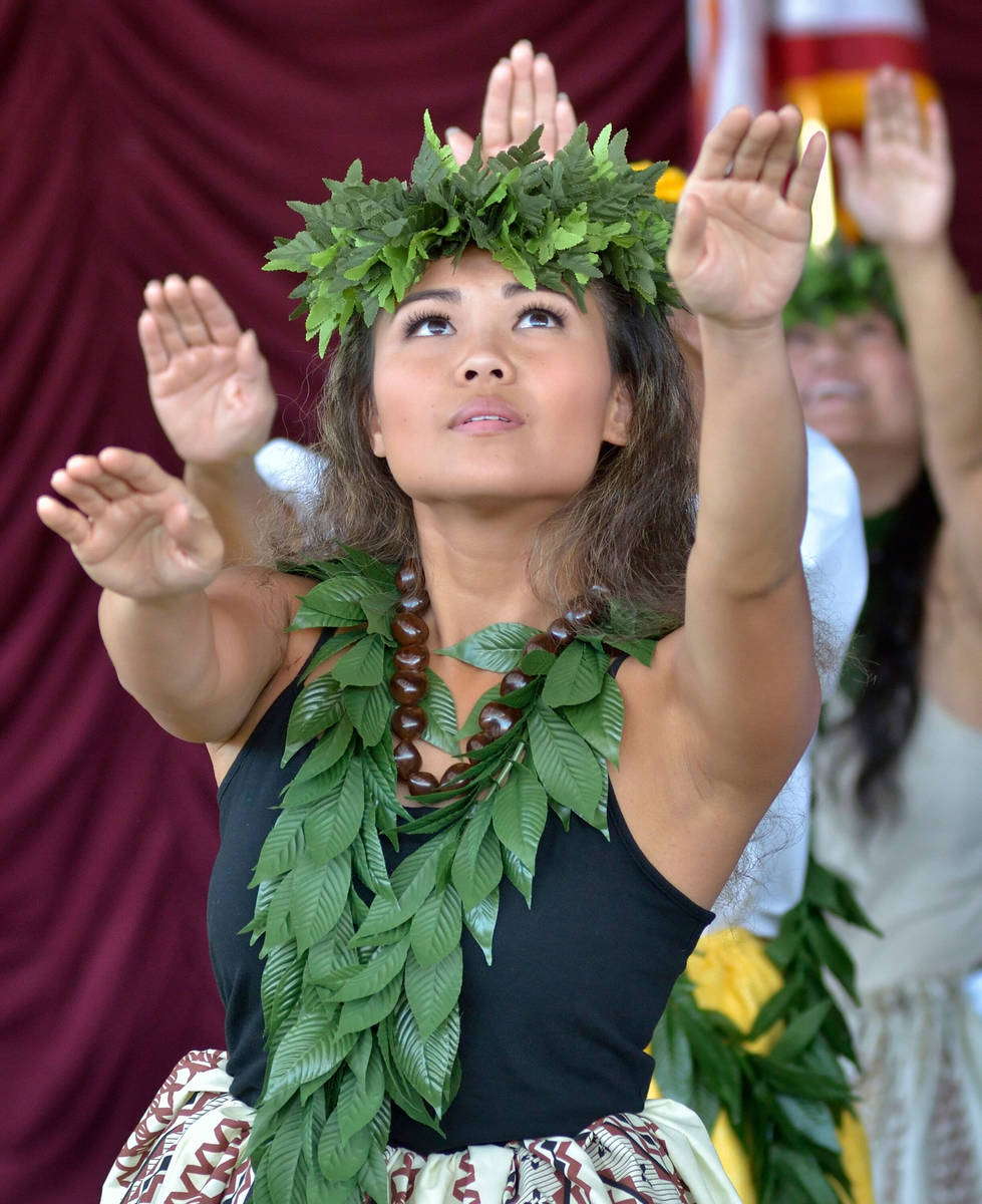 Hoku Kapanui of Las Vegas performs with Halau Hula 'O Kaleimomi during the 28th Annual Pacific ...