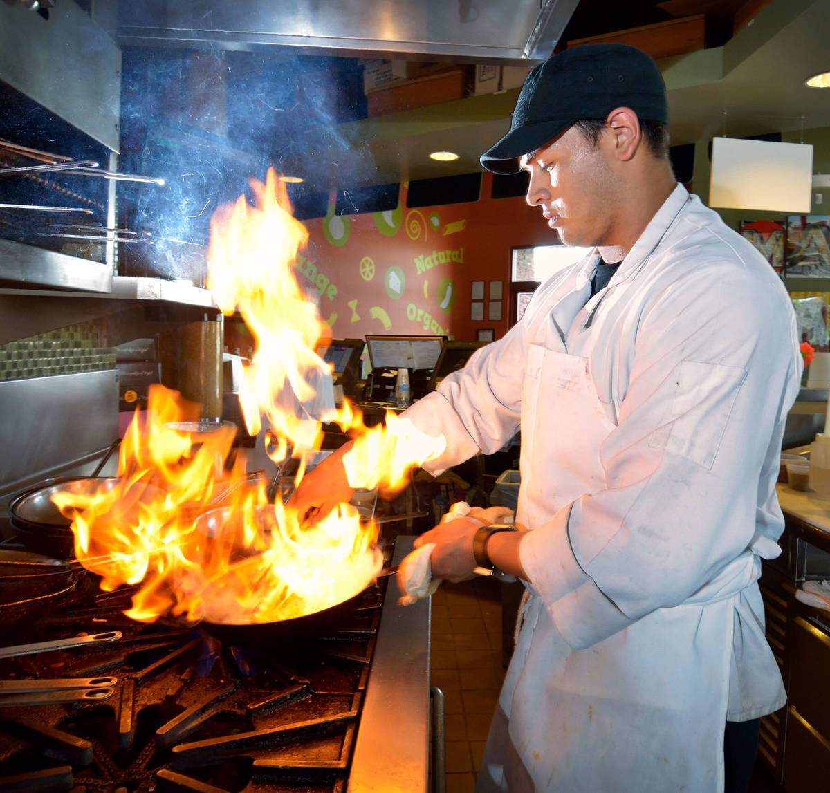 Chef Eduardo Alfaro-Casillas prepares Crazy Alfredo at Mac Shack at 8680 W. Warm Springs Road i ...