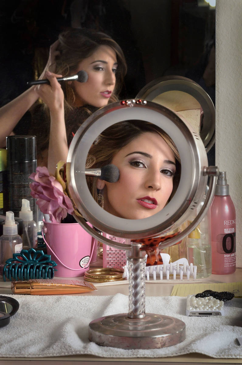 "Dancer Soolin Deitchman poses in the ""Fantasy"" dressing room at the Luxor hotel-casino at 3900 ..."