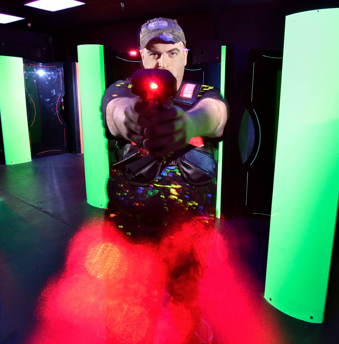 Owner Brandon Stauffer poses in the Lazer Runner laser tag arena at the 3D Family Fun Center at ...