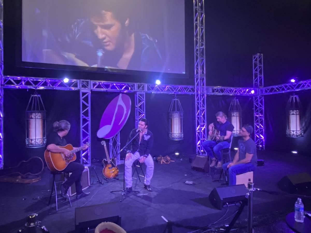 """Elvis Lederer, Justin Shandor, Martin Zimmerman and Pepe Jimenez jam during rehearsals for """"Elv ..."""