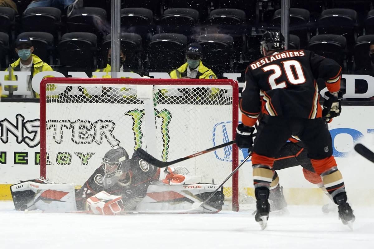 Anaheim Ducks goaltender John Gibson stops a shot on goal against the Vegas Golden Knights duri ...