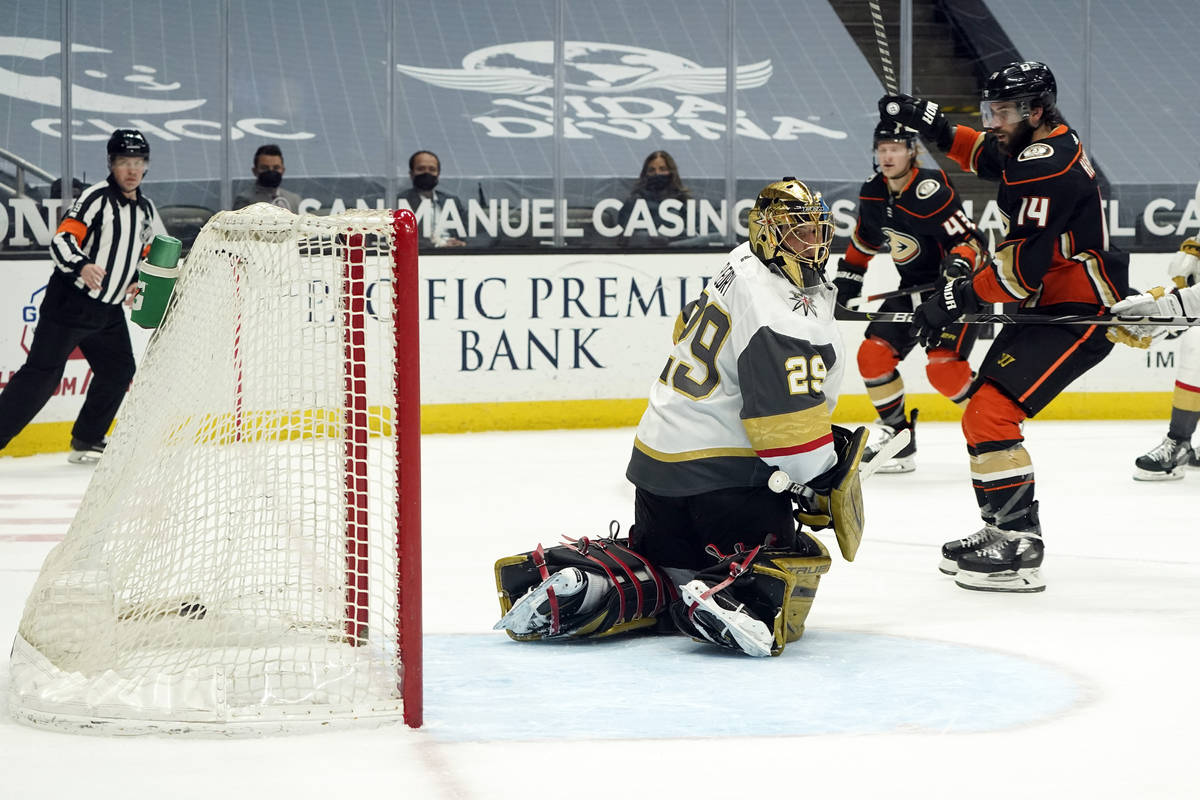 Anaheim Ducks center Adam Henrique (14) celebrates after assisting on a goal from Danton Heinen ...