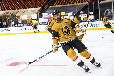 Golden Knights defenseman Alex Pietrangelo warms up before an NHL hockey game at T-Mobile Arena ...