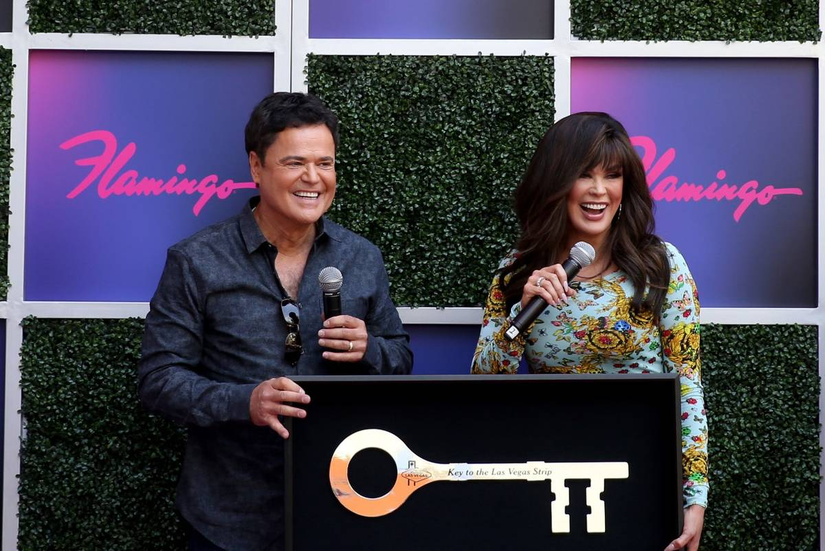 Strip headliners Donny and Marie Osmond receive a Key to The Las Vegas Strip during a ceremony ...