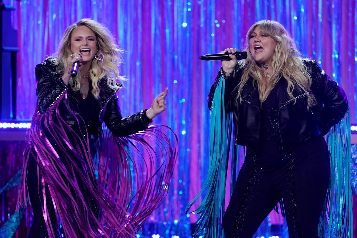 Miranda Lambert, left, and Elle King perform at the 56th annual Academy of Country Music Awards ...