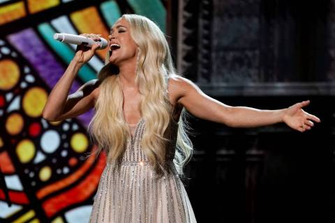 Carrie Underwood performs at the 56th annual Academy of Country Music Awards on Saturday, April ...