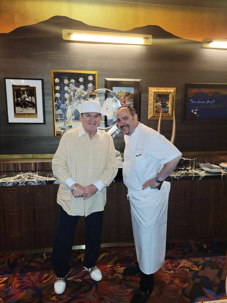 Chef Barry Dakake is shown with Major League hit king Pete Rose at Barry's Downtown Prime on Sa ...
