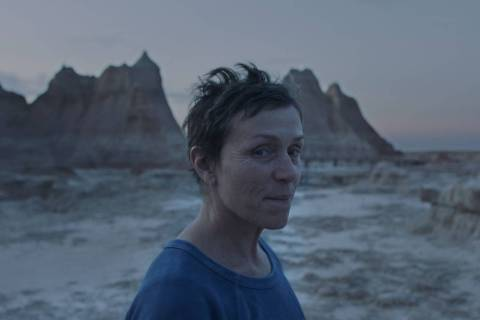 """Frances McDormand portrays Fern, a widow who lives on the road in her van, in the film """"Nomadla ..."""