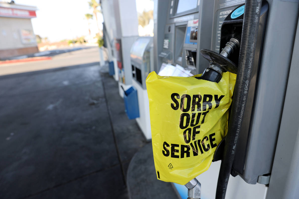 Gas pumps sit empty at the Chevron station Bonanza Road and Martin Luther King Boulevard in Las ...