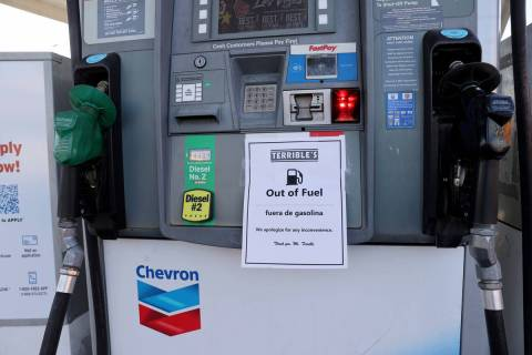 Gas pumps sit empty at the Chevron station on Rancho Drive and Bonanza Road in Las Vegas Monday ...