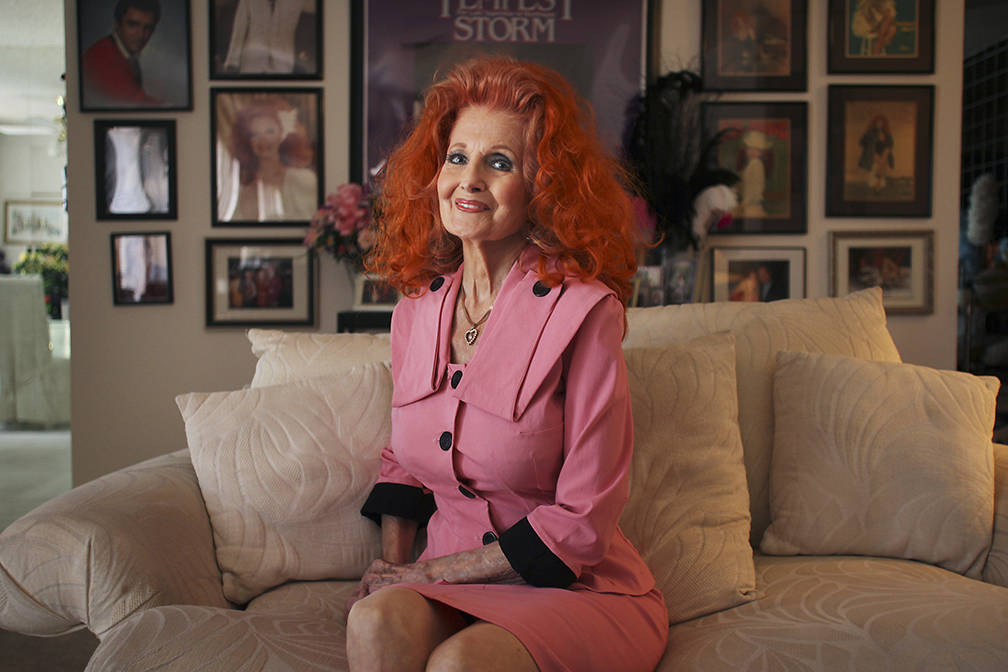 Burlesque legend Tempest Storm poses for a portrait at her home in Las Vegas on June 9, 2011. ( ...