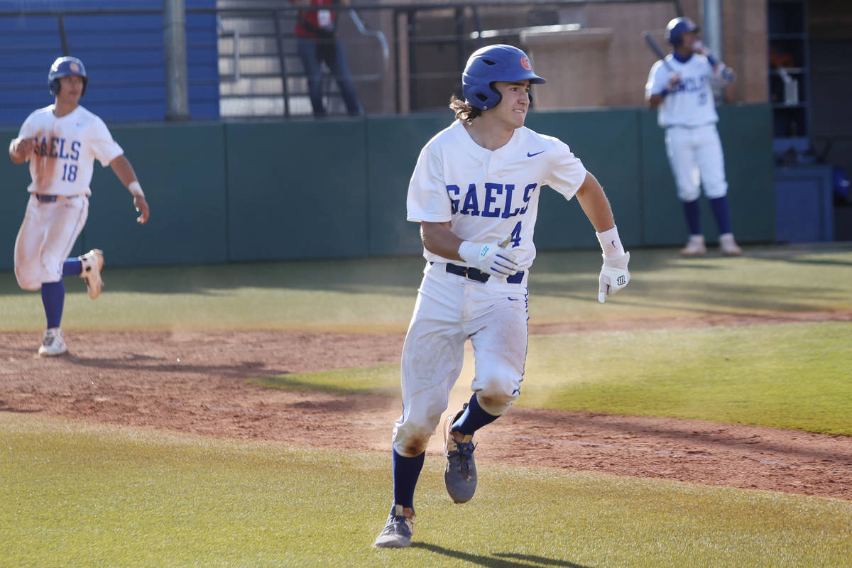 Bishop Gorman's Anthony Marnell (4) runs the bases for a double and a walk-off win against Coro ...