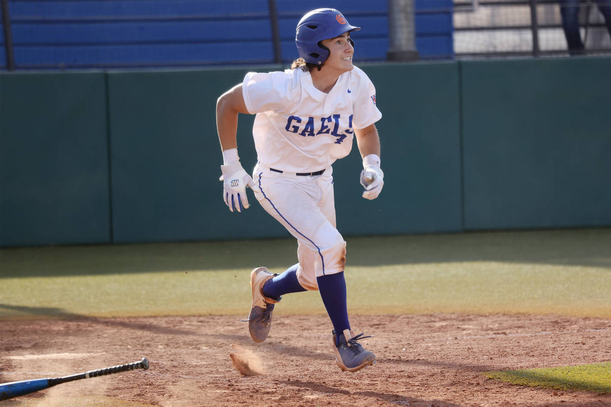 Bishop Gorman's Anthony Marnell (4) looks as at ball after hitting a double for a walk-off win ...