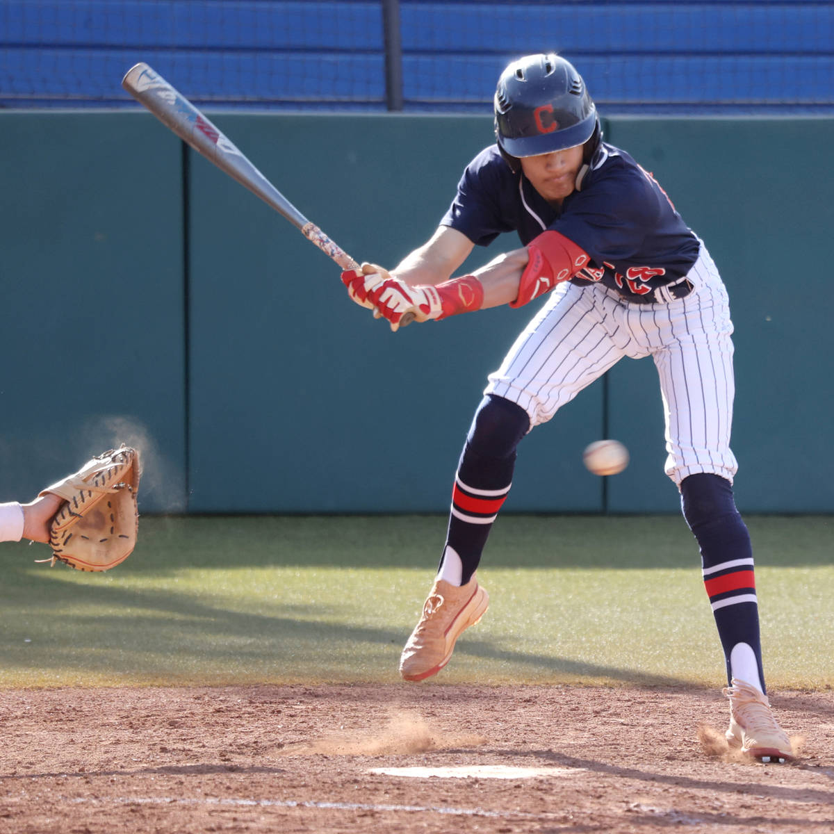 Coronado's Mason McCormack (28) moves away from a pitch against Bishop Gorman in the fifth inni ...