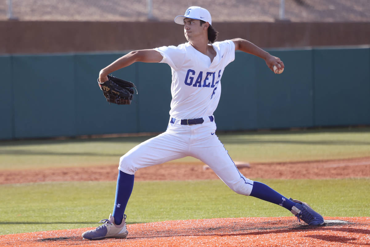 Bishop Gorman's Raffael Chiarella (6) throws a strike for an out in the fifth inning of the bas ...
