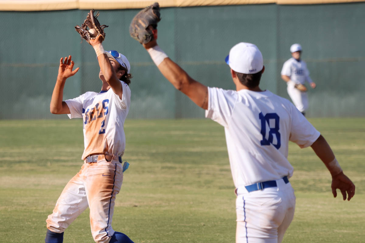 Bishop Gorman's Preston Riske (2) makes a catch in the fifth inning for an out as teammate Gavi ...