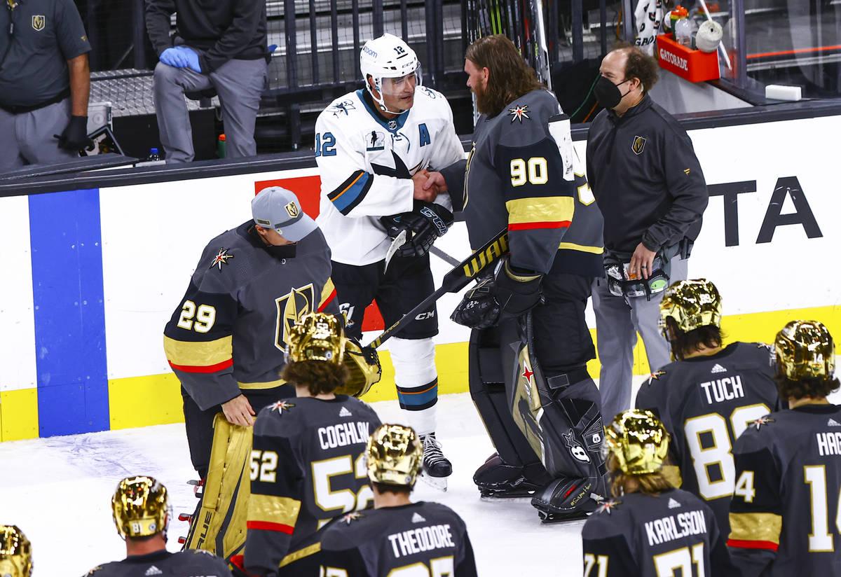 San Jose Sharks' Patrick Marleau (12) shakes hands with Golden Knights goaltender Robin Lehner ...
