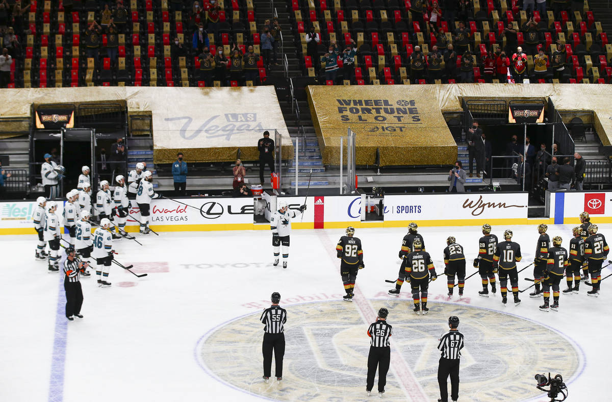 San Jose Sharks' Patrick Marleau (12) is honored after the Golden Knights' shootout win over th ...