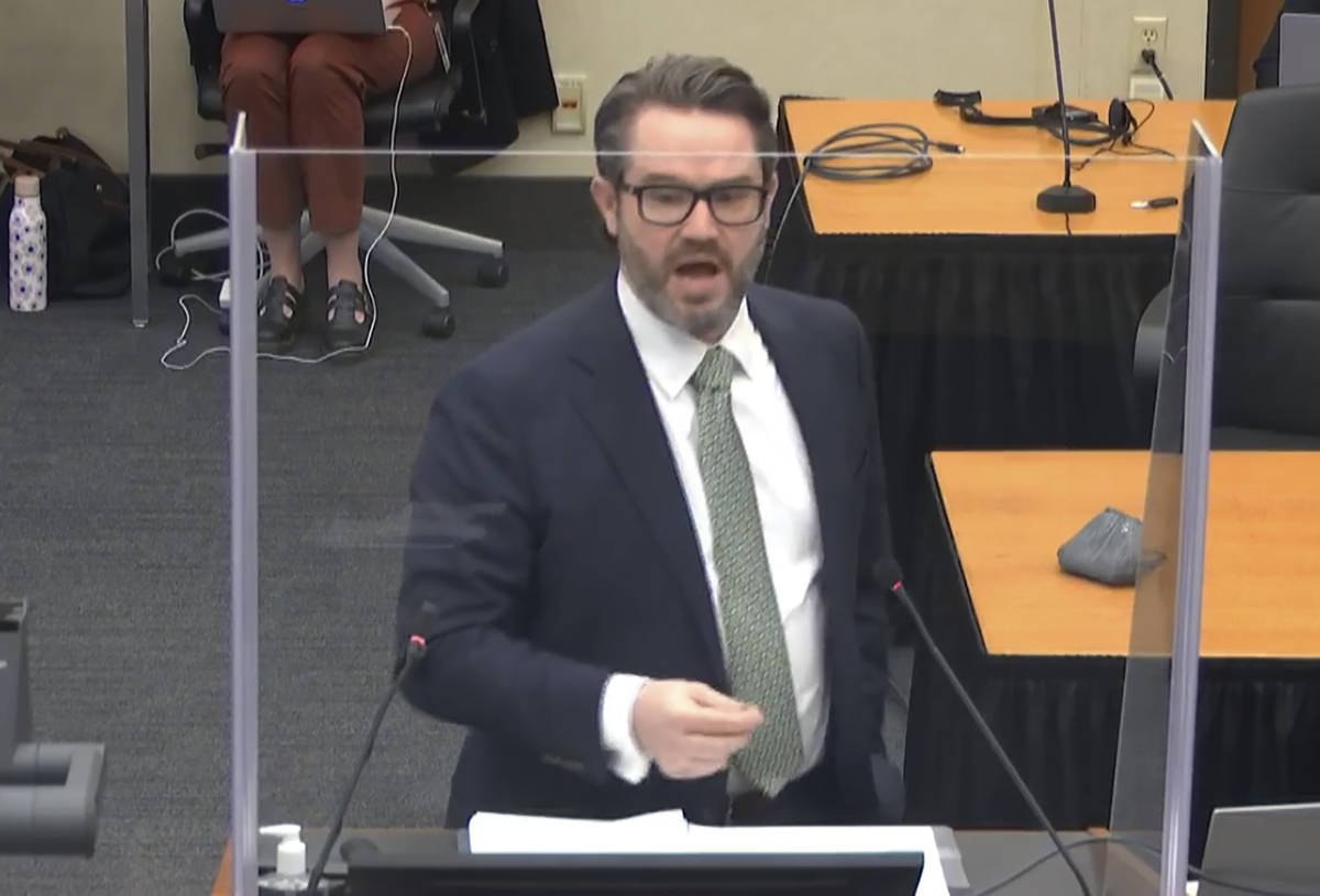 In this image from video, defense attorney Eric Nelson gives closing arguments as Hennepin Coun ...