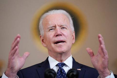 President Joe Biden speaks Tuesday, April 20, 2021, at the White House in Washington, after for ...