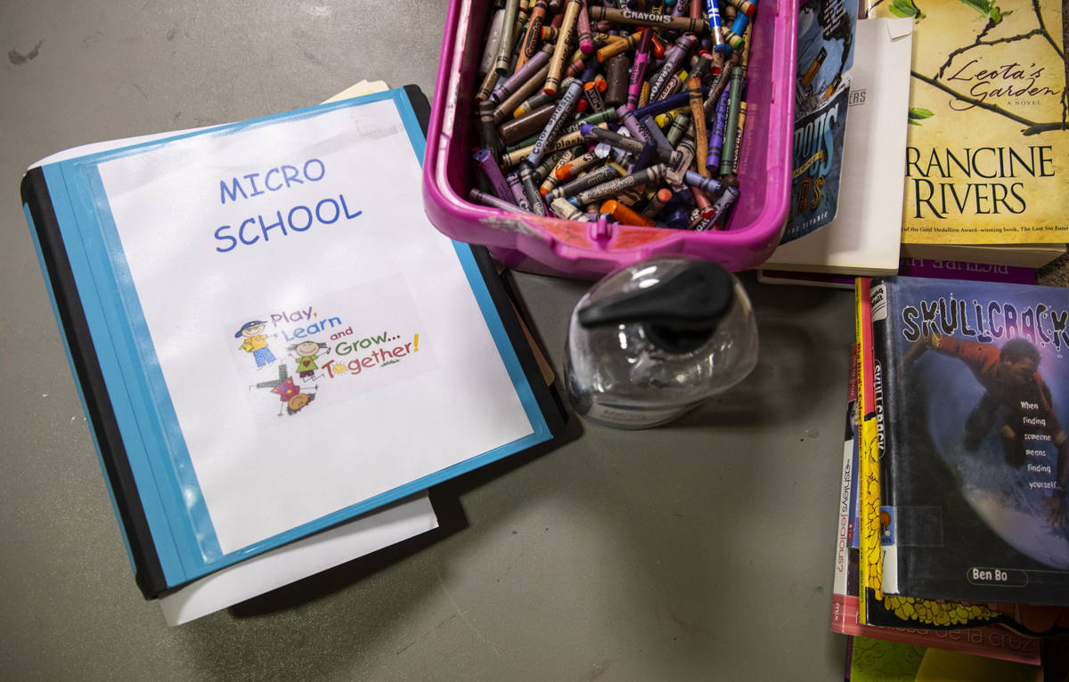 A binder on a desk at the Southern Nevada Urban Micro Academy at Silver Mesa Recreation Center ...