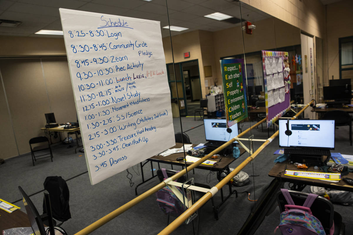 A schedule in a classroom at the Southern Nevada Urban Micro Academy at Silver Mesa Recreation ...
