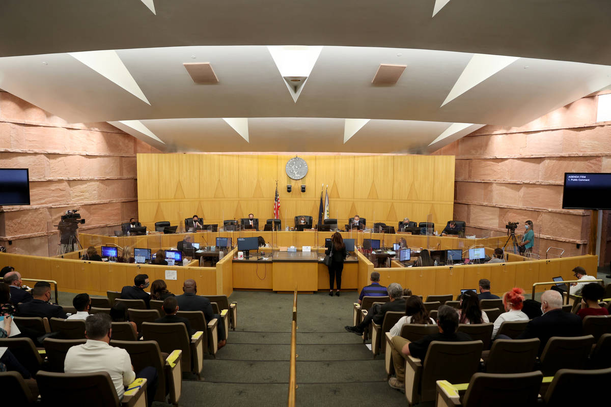 Clark County Commissioners during a commission meeting in Las Vegas Tuesday, April 20, 2021. Th ...