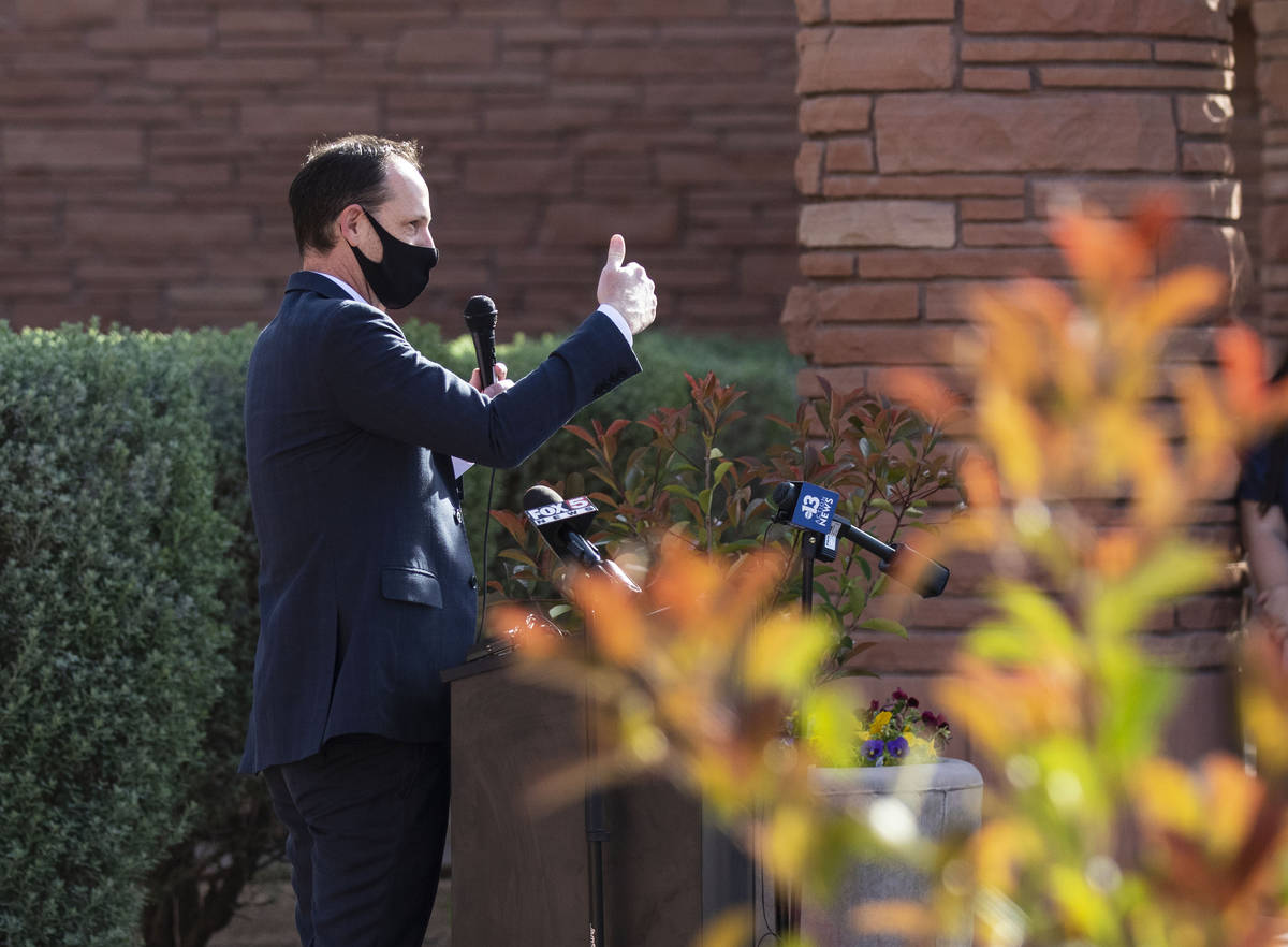 Commissioner Justin Jones speaks during a news conference outside of the Clark County Governmen ...