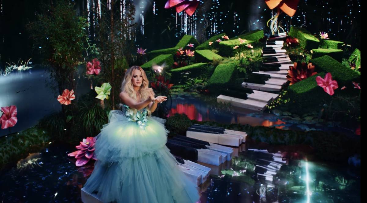 """A screen grab of Carrie Underwood is shown in Resorts Worlds Las Vegas' new commercial, """"Stay F ..."""