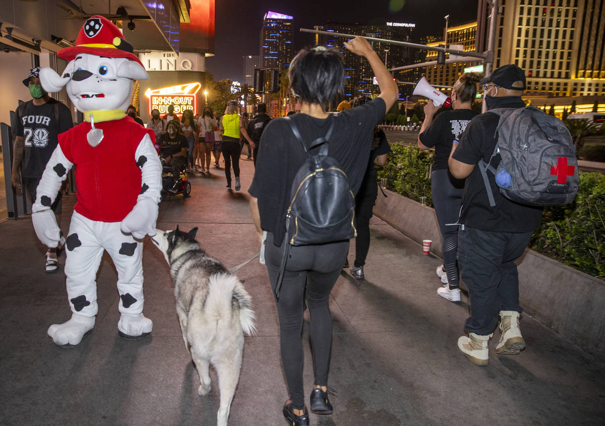 A costumed dog is sniffed by a real one during a small group march along the Strip following th ...