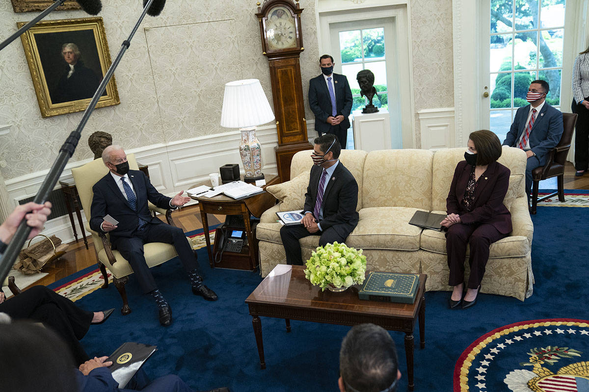 President Joe Biden speaks during a meeting with members of the Congressional Hispanic Caucus, ...