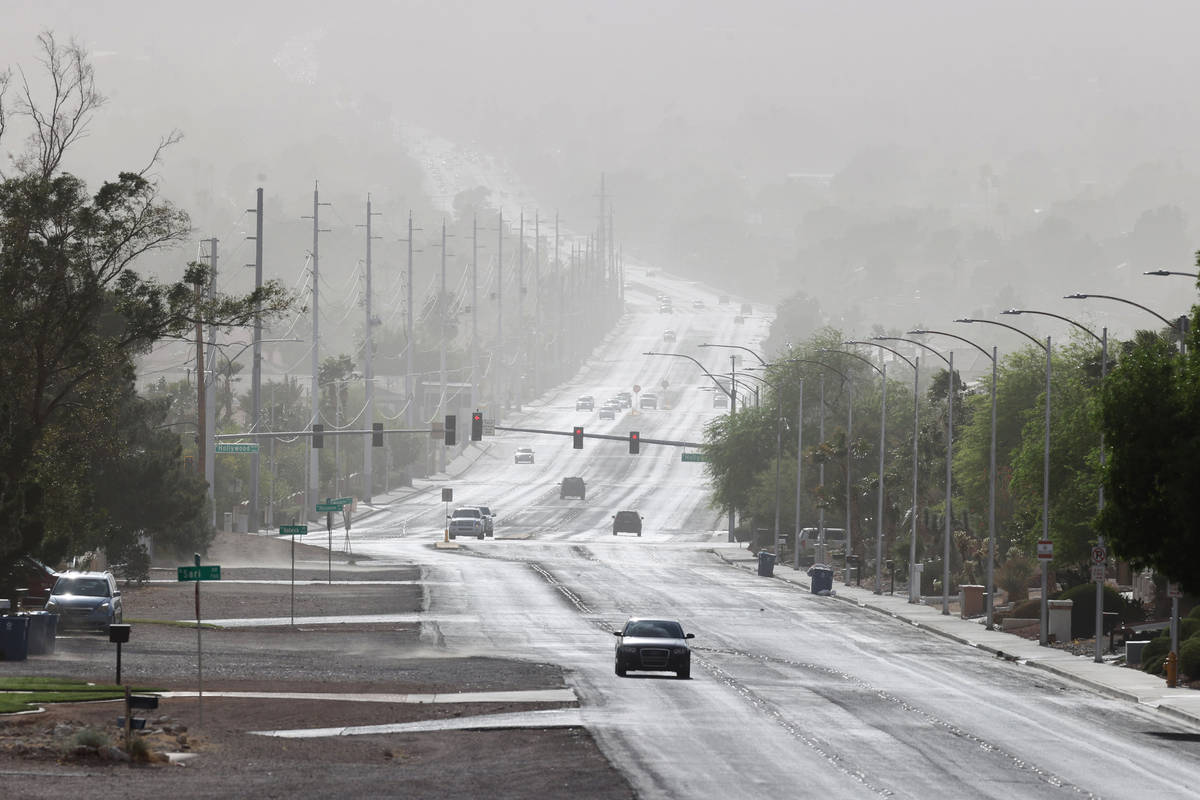 Bonanza Road disappears into the haze near Hollywood Boulevard in Las Vegas Wednesday, April 21 ...