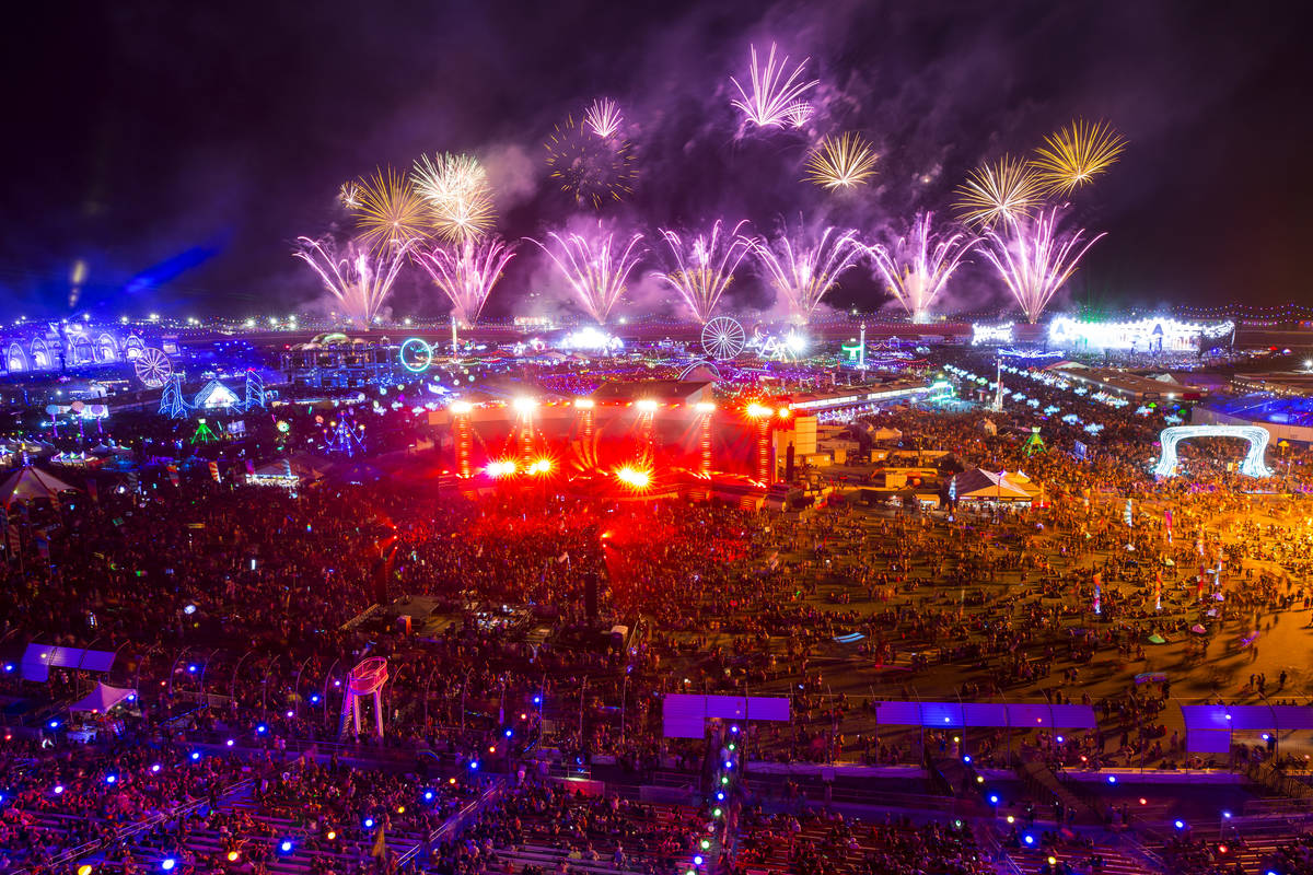 Fireworks go off on day two of the Electric Daisy Carnival at the Las Vegas Motor Speedway on S ...