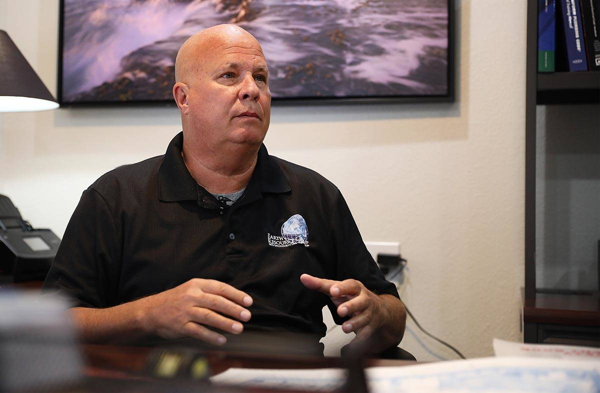 Steve Schafer, co-owner of Earth Resource Group, talks to the Review-Journal at his office in L ...