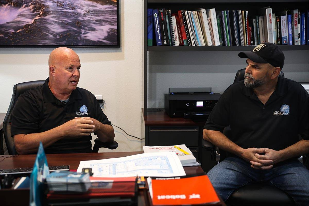 Steve Schafer, left, co-owner of Earth Resource Group, talks to the Review-Journal with co-owne ...