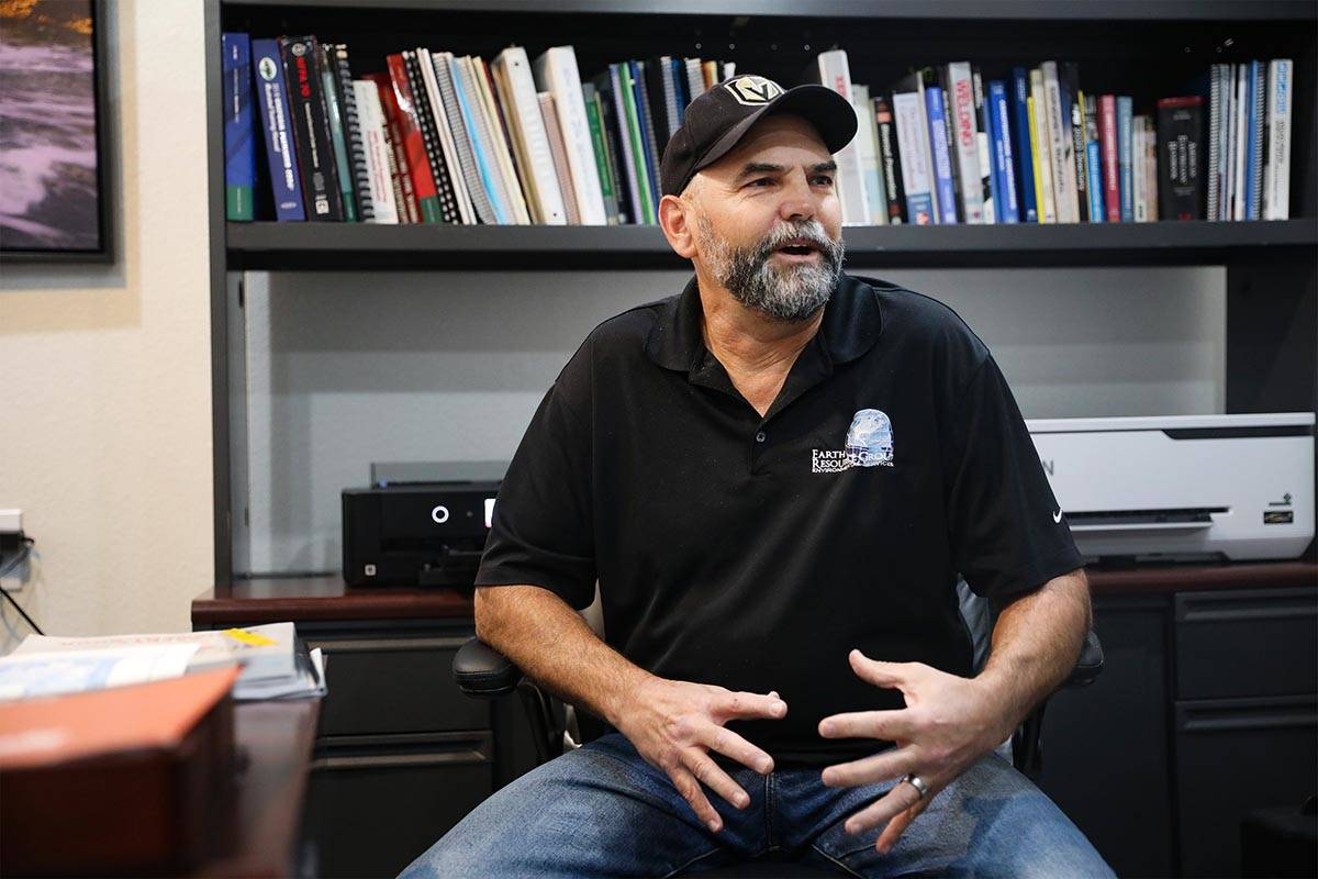 Todd Osmundson, co-owner of Earth Resource Group, talks to the Review-Journal at his office in ...