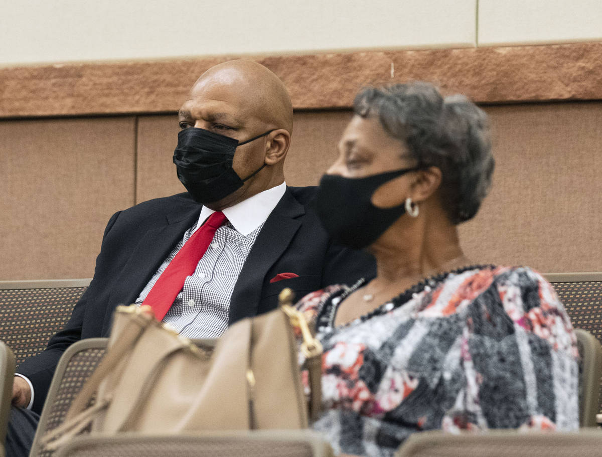 Former NBA player Jackie Robinson and his sister Terry Richardson attend a commission meeting i ...