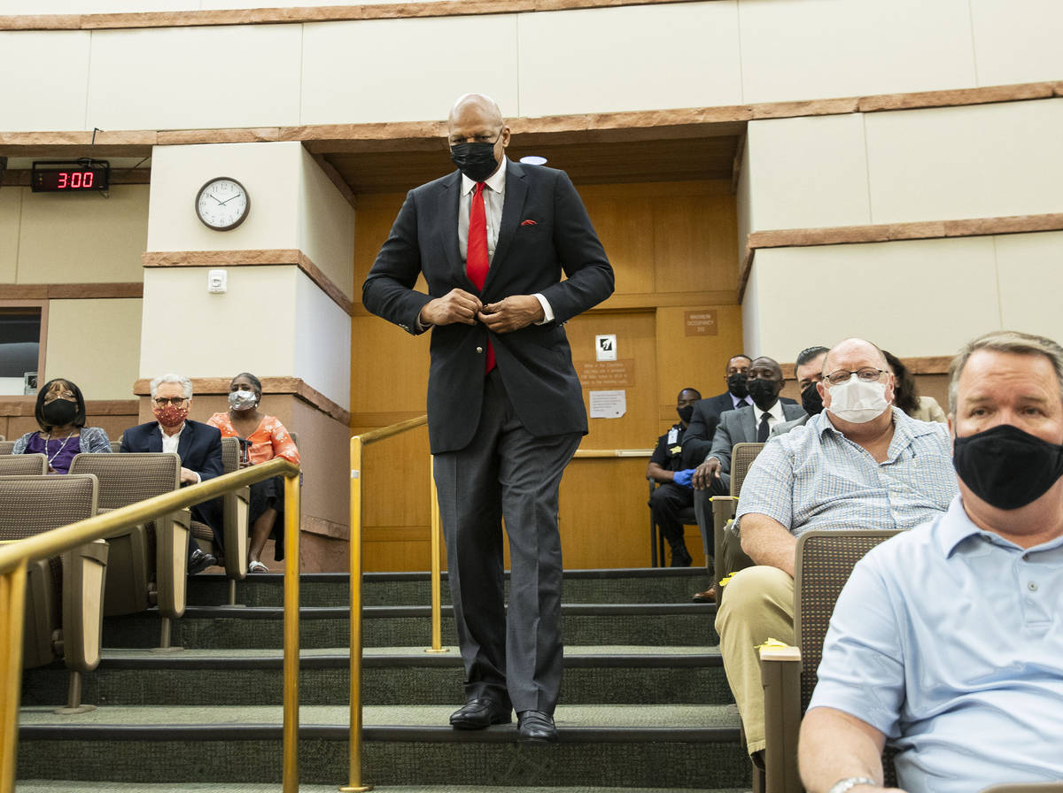 Former NBA player Jackie Robinson arrives during a commission meeting in the Clark County chamb ...