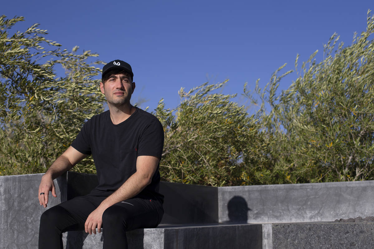 Justin Blau, known as electronic musician and DJ 3LAU, at his home on Thursday, April 8, 2021, ...