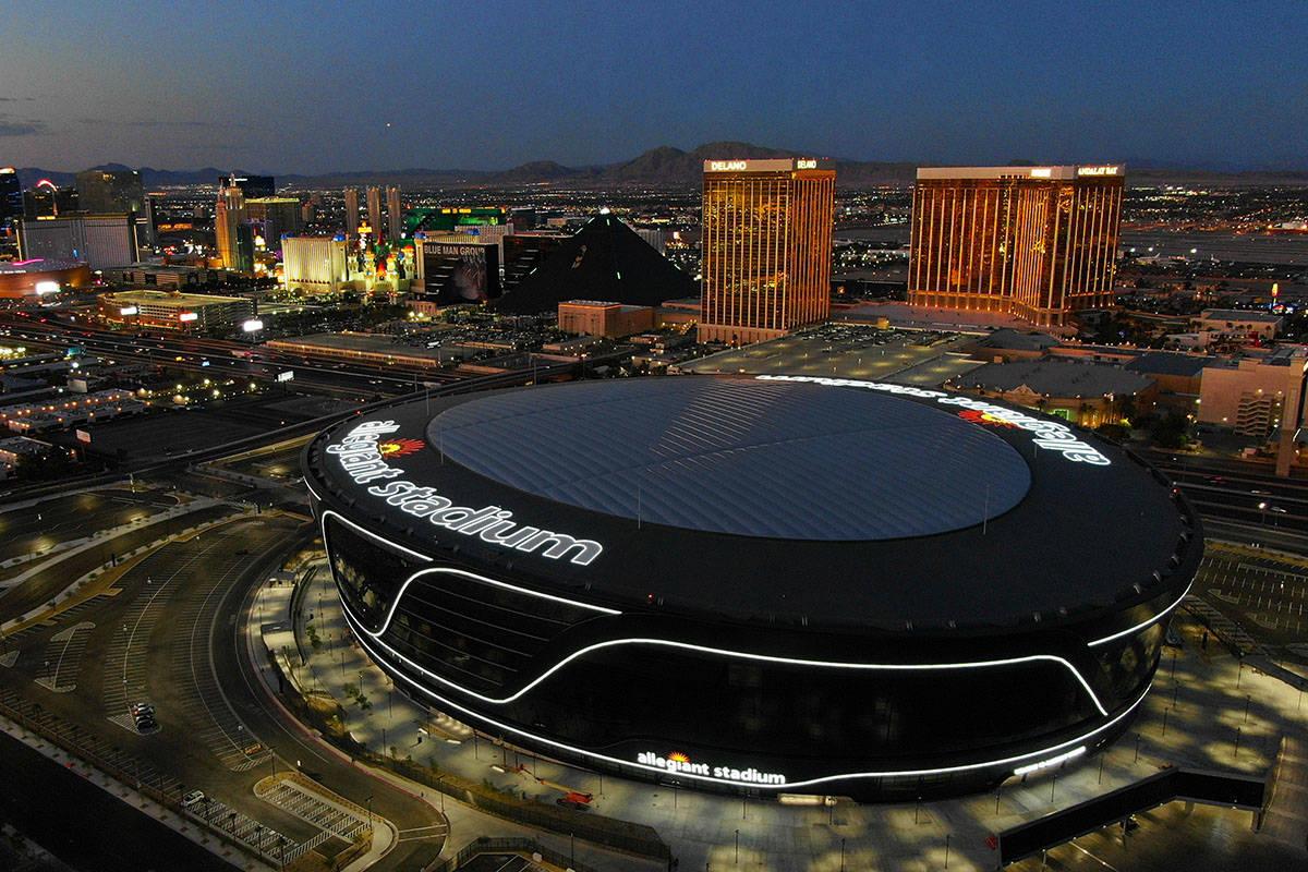 Aerial view of Allegiant Stadium in Las Vegas. (Michael Quine/Las Vegas Review-Journal) @Vegas88s