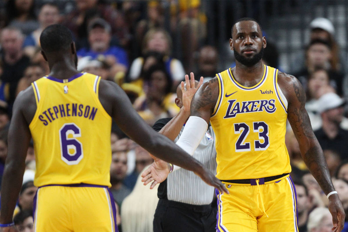 Los Angeles Lakers forward LeBron James (23) and guard Lance Stephenson (6) during their presea ...