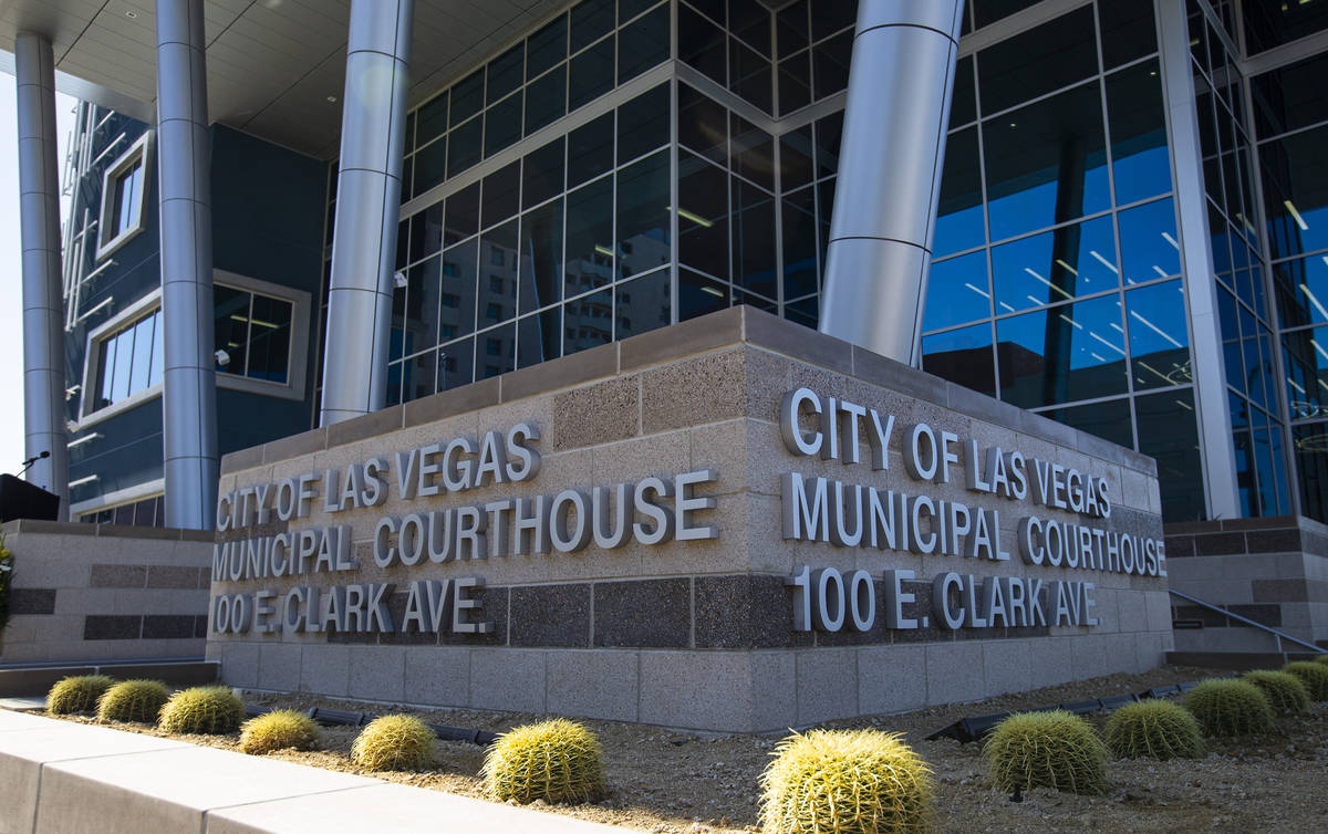 The Las Vegas municipal courthouse in downtown on Thursday, April 22, 2021. (Chase Stevens/Las ...