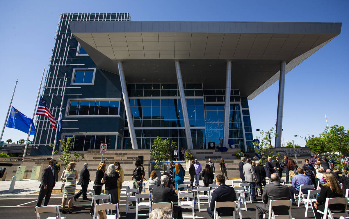 People gather outside for the opening ceremony of the $56 million Las Vegas municipal courthous ...