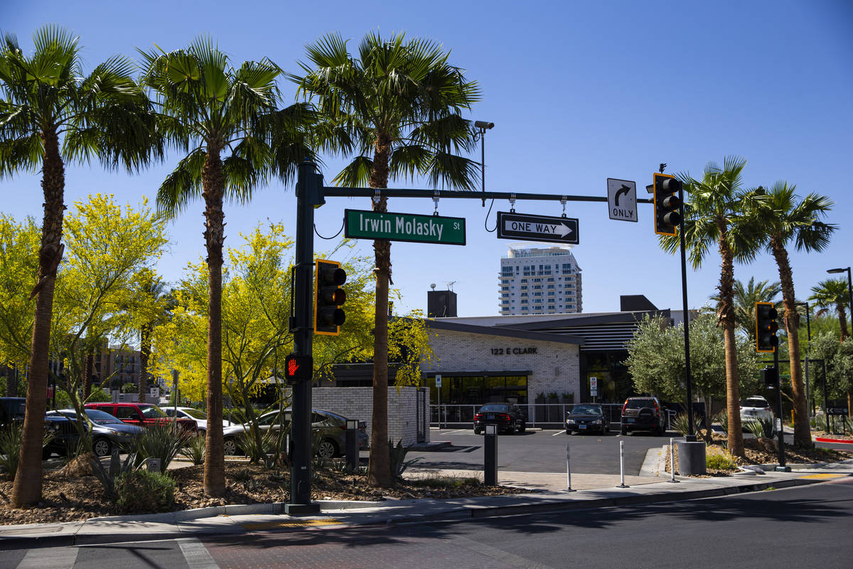 Irwin Molasky Street is unveiled during the opening ceremony for the $56 million Las Vegas muni ...