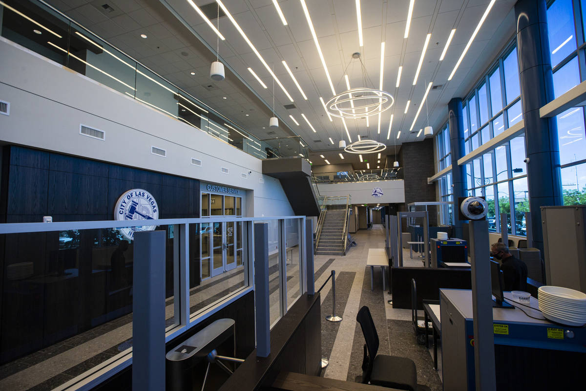 The lobby of the $56 million Las Vegas municipal courthouse in downtown on Thursday, April 22, ...