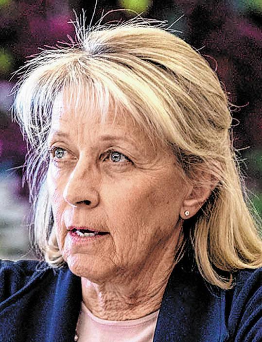 Nevada Secretary of State Barbara Cegavske speaks to Governor Steve Sisolak during an audit com ...