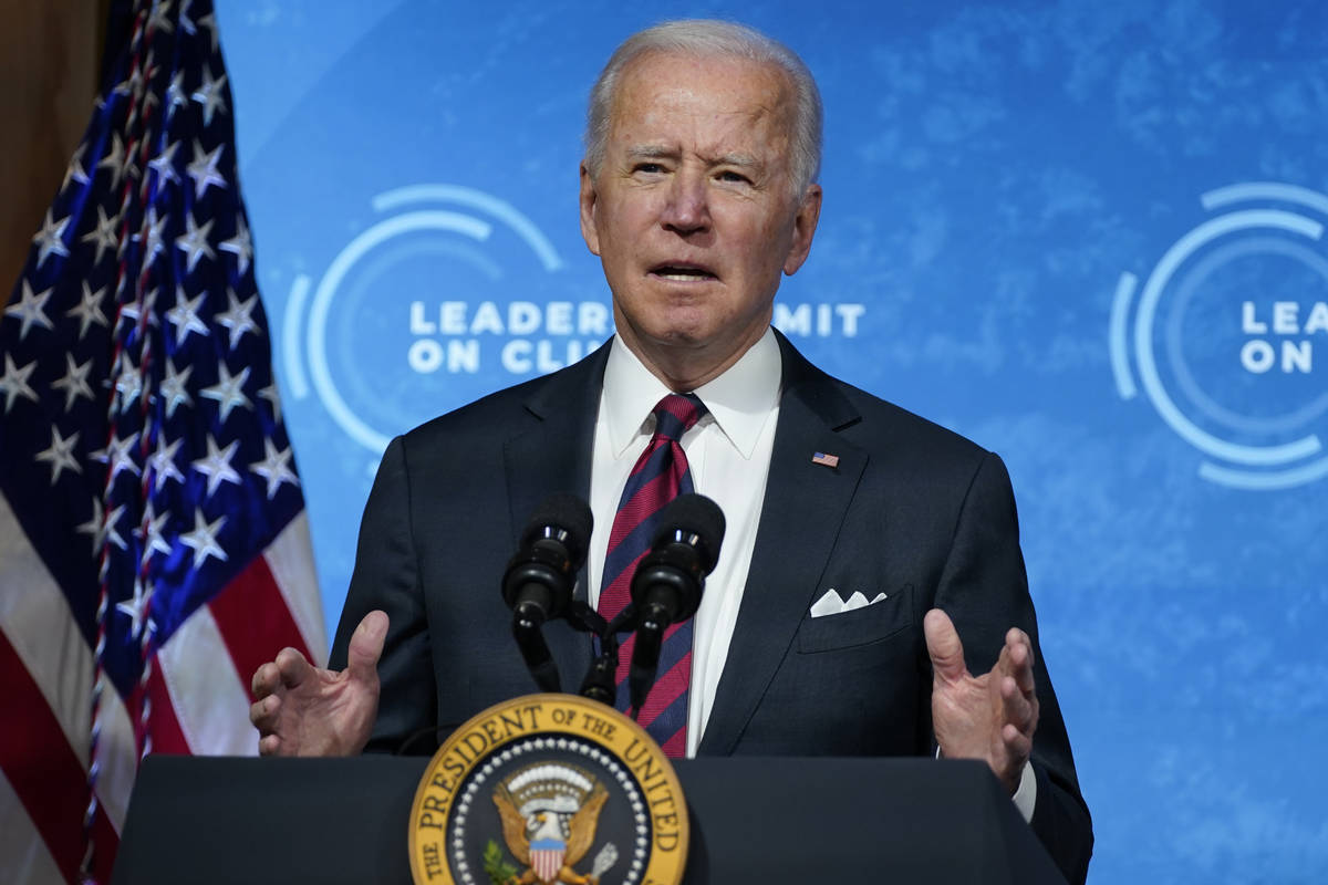 President Joe Biden speaks to the virtual Leaders Summit on Climate, from the East Room of the ...